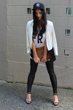 tawny Zara bag - black faux leather Wilfred Free leggings - white H&amp;M blazer