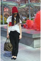 black silk Babaton pants - ruby red Babaton hat - white Zara t-shirt