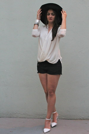 black wool H&M hat - black denim rag & bone shorts - ivory silk Babaton blouse