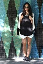 black linen Wilfred Free top - white varsity Babaton jacket - white Zara shorts