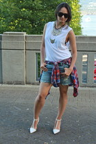 ruby red flannel Topshop t-shirt - blue denim Gap shorts - white cotton TNA top