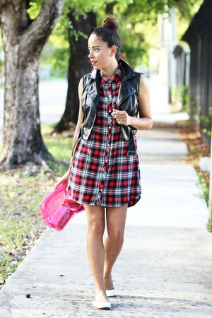 plaid Forever 21 dress - white Target flats