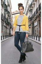 mustard Zara jacket - navy Topshop jeans - black Zara boots - heather gray BLANC
