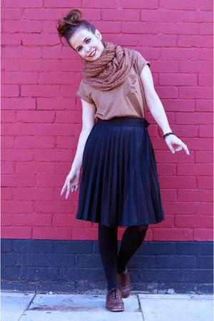 brown Topshop top - black Primark skirt - brown Zara shoes - brown Topshop scarf