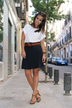 white Zara t-shirt - black H&M skirt - brown Zara shoes - brown H&M belt