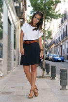 white Zara t-shirt - black H&M skirt - brown Zara shoes - brown H&M belt