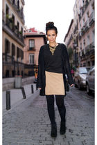 black Zara jacket - gold New Years Eve vintage dress dress - black Zara shoes -