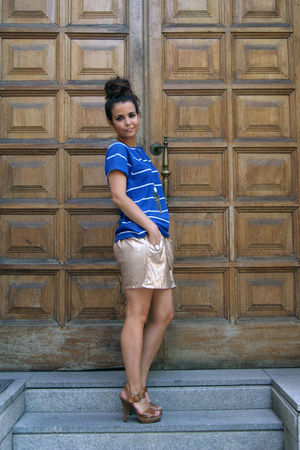 gold Zara skirt - blue pull&bear top - brown Zara shoes - brown asos accessories