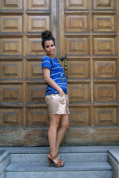 gold Zara skirt - blue pull&bear top - brown Zara shoes - brown asos accessories