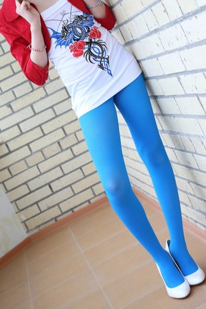 blue sky opaque tights