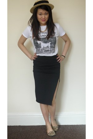 unicorn Ebay top - hat River Island hat - thigh split Topshop skirt