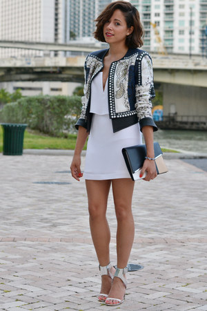 embellished bcbg max azria jacket - white bcbg max azria dress