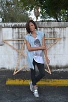 metallic Nyla sneakers - allsaints jeans - denim Forever21 top