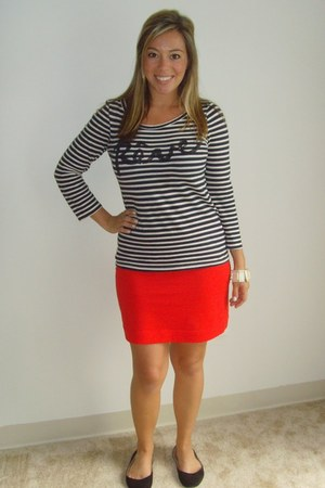 navy JCrew shirt - red H&M skirt