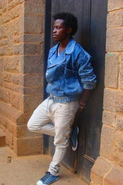 unknown brand shoes - cream unknown brand jeans - denim jacket DIY jacket