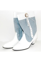 Blue + White Westies Boots