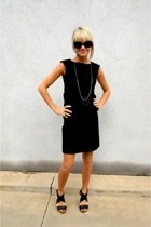black black dress H&M dress - black black wedges unknown shoes