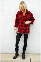 Red + Black vintage wool shirt