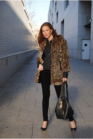 suiteblanco coat - Zara jeans - Moschino bag - suiteblanco heels - Zara blouse