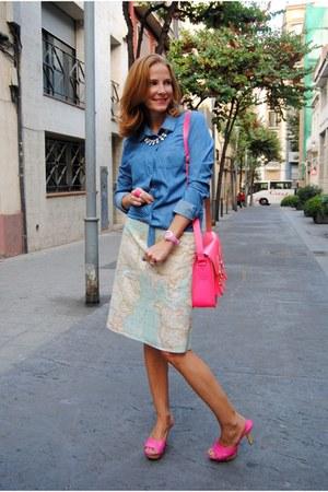 Modart skirt - Vero Moda shirt - satchel bag - Nine West heels - Zara necklace