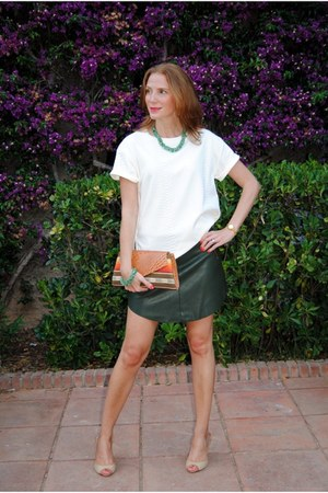 Ovra handmade bag - Zara skirt - Lefties t-shirt - serena whitehaven wedges