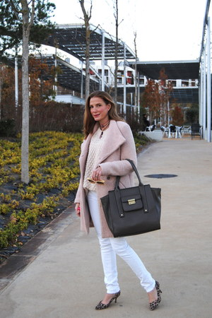 Demilamores necklace - pink Zara coat - light pink H&M sweater