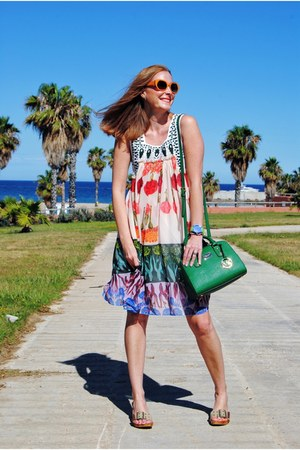 desigual dress - Michael Kors bag - Zara heels