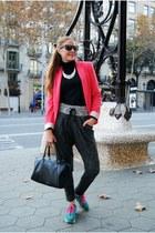 Zara blazer - Zara sweater - Furla bag - smash pants - asics sneakers