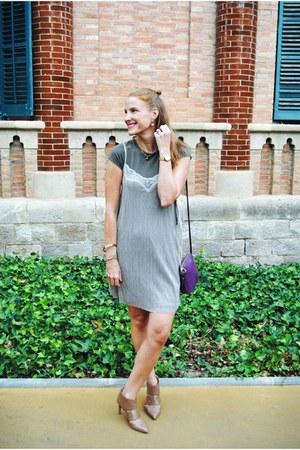 Zara t-shirt - Nine West boots - Zara dress - Furla bag