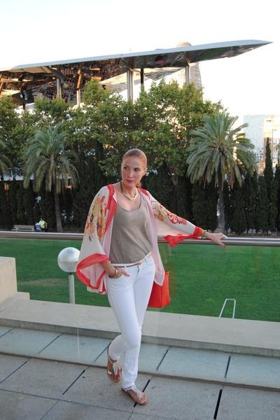 kimono Zara top - Mango jeans - Furla bag - Sfera blouse - Skechers flats