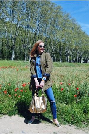Zara jeans - Stradivarius jacket - Zara shirt - Tous bag - Mango flats