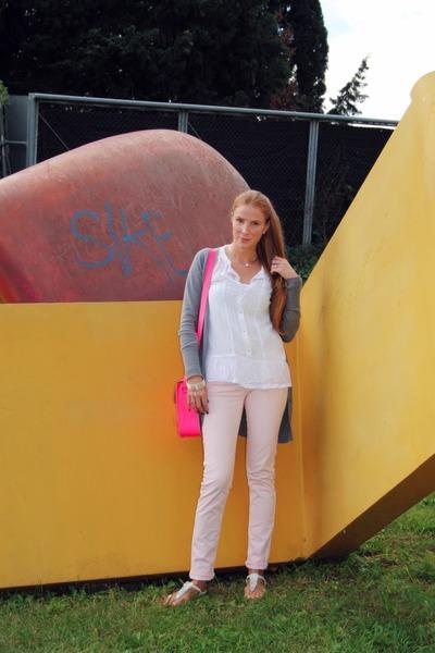 satchel bag - Zara sweater - Zara blouse - Zara pants - Skechers flats