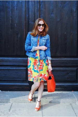Escorpion dress - Zara shoes - carrot orange Furla bag