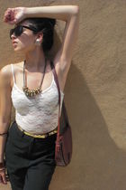 H&M accessories - vintage bag - Gap - bodysuit Forever21 blouse