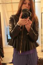 purple Space Style Concept pants - black leather Space Style Concept jacket