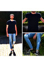 Turquoise-blue-skinny-jeans-cheap-monday-jeans-navy-asos-t-shirt