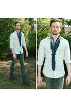 dark brown boots - heather gray skinny jeans pull&bear jeans - light blue shirt
