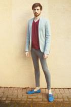 brick red H&M t-shirt - silver Zara blazer