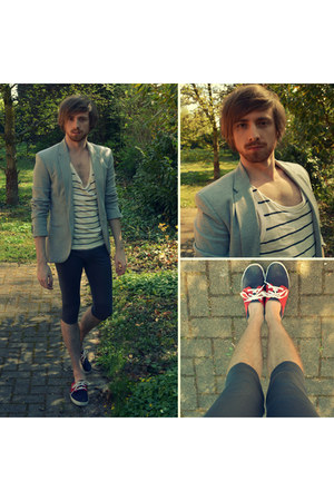 silver Zara blazer - ruby red veja sneakers - cream tank top H&M top