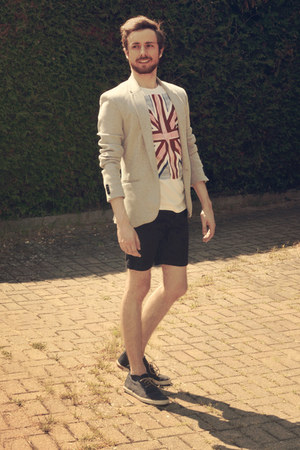 silver Zara blazer - navy Zara shorts - ruby red H&M t-shirt