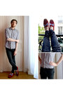 Dark-gray-skinny-jeans-h-m-jeans-ruby-red-bobbies-loafers