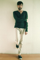 navy Bensimon shoes - navy sweater - eggshell Zara pants
