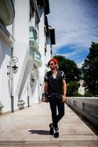 black leather Zara shoes - colorful Zara socks - black and gold Zara t-shirt