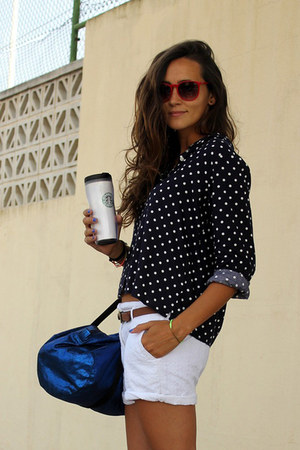 Oysho blouse - American Apparel bag - Zara shorts