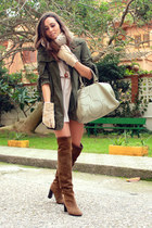 dark brown Zara boots - beige H&M dress - olive green Zara jacket