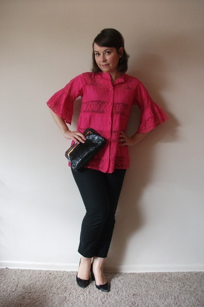 black Gap pants - pink vintage blouse - black vintage bag - black shoes