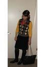 Gold-california-ts-t-shirt-brown-j-crew-vest-black-vintage-skirt-black-cha
