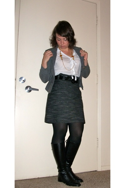gray H&M skirt - black franco sarti boots - white The Limited blouse - black HUE