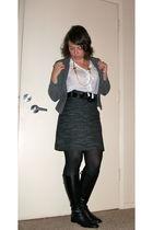 gray H&M skirt - black franco sarti boots - white The Limited blouse - black HUE