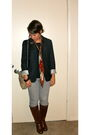 Brown-naturalizer-boots-silver-thrifted-jeans-blue-gap-blazer-black-banana